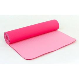 Коврик для Йоги ТПЕ 0,6 см(розовый) с чехлом