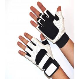 Перчатки для фитнеса (Кожзам) Белый