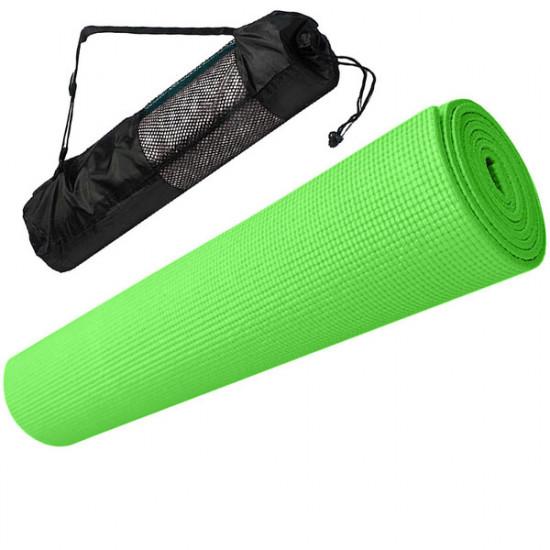 Коврик для йоги ПВХ 0,5 см(зеленый) с чехлом