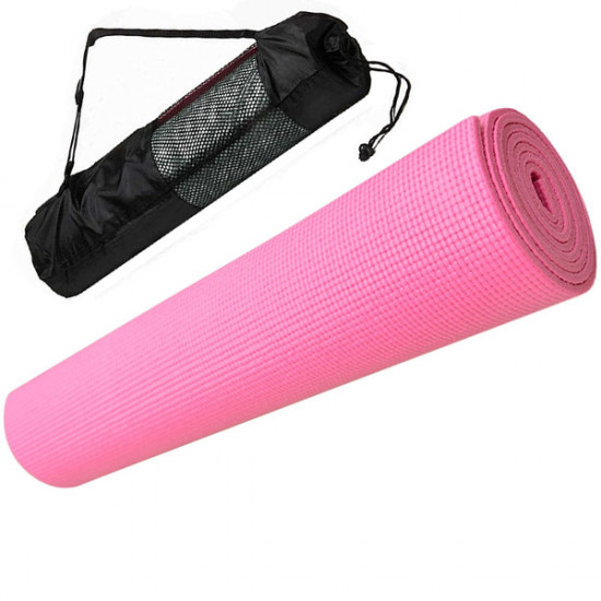 Коврик для йоги ПВХ 0,3 см(розовый) с чехлом