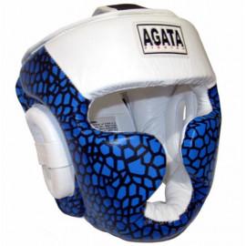 Шлем для бокса закрытый (кожа,белый/синий)HGAG-707-61