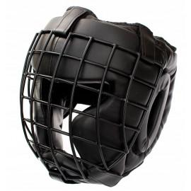 Шлем для бокса закрытый и сетка (натуральная кожа) черный