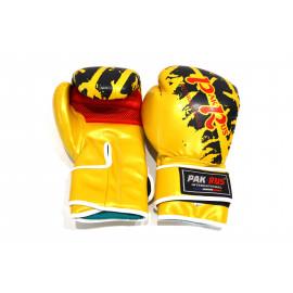 Перчатки для бокса (кожзам, золото-черный) PR